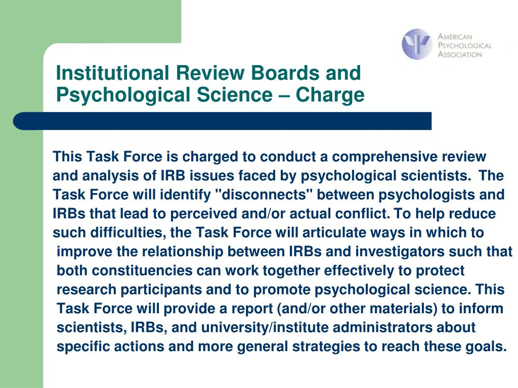 Institutional Review Boards and Psychological Science – Charge