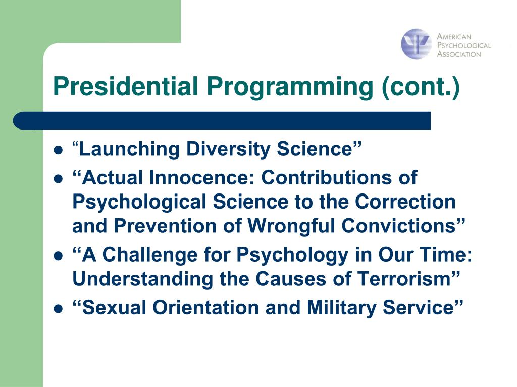 Presidential Programming (cont.)
