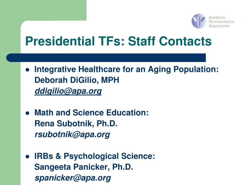 Presidential TFs: Staff Contacts