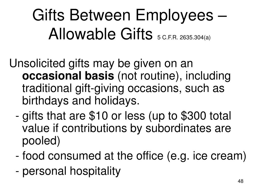 Gifts Between Employees – Allowable Gifts