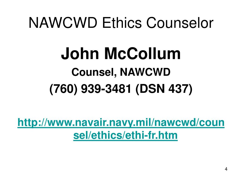 NAWCWD Ethics Counselor