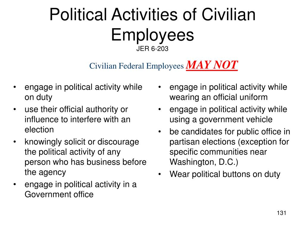 engage in political activity while on duty