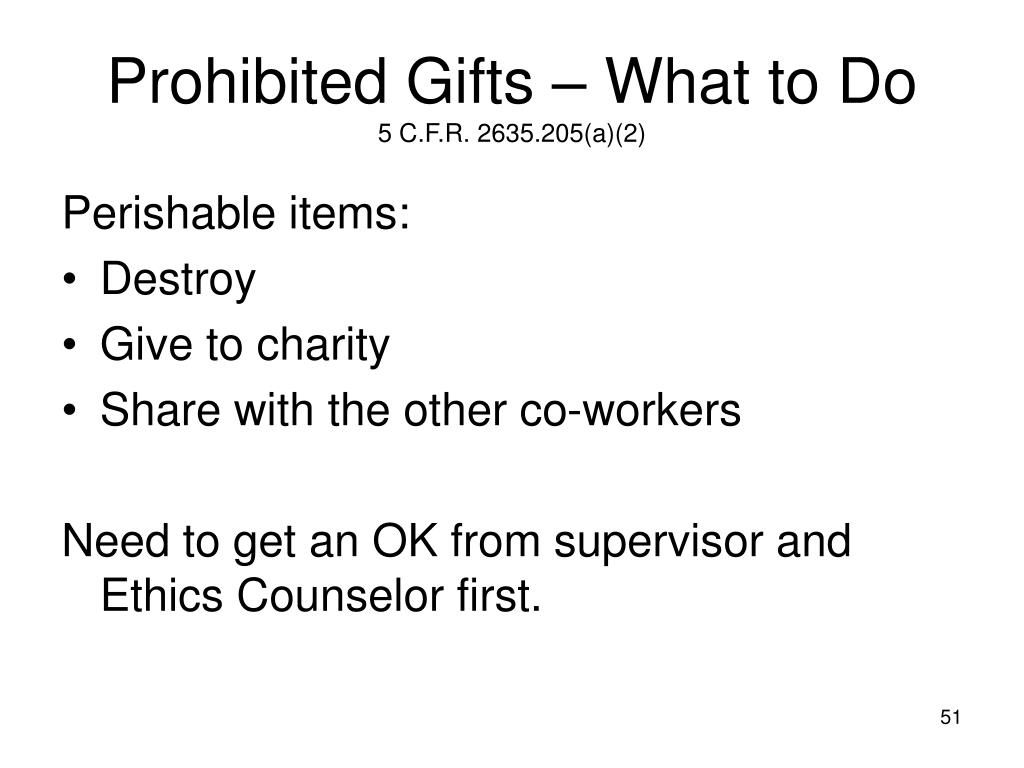 Prohibited Gifts – What to Do