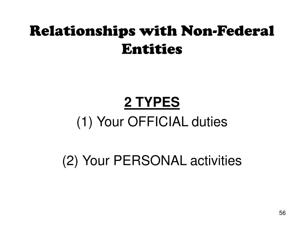 Relationships with Non-Federal Entities