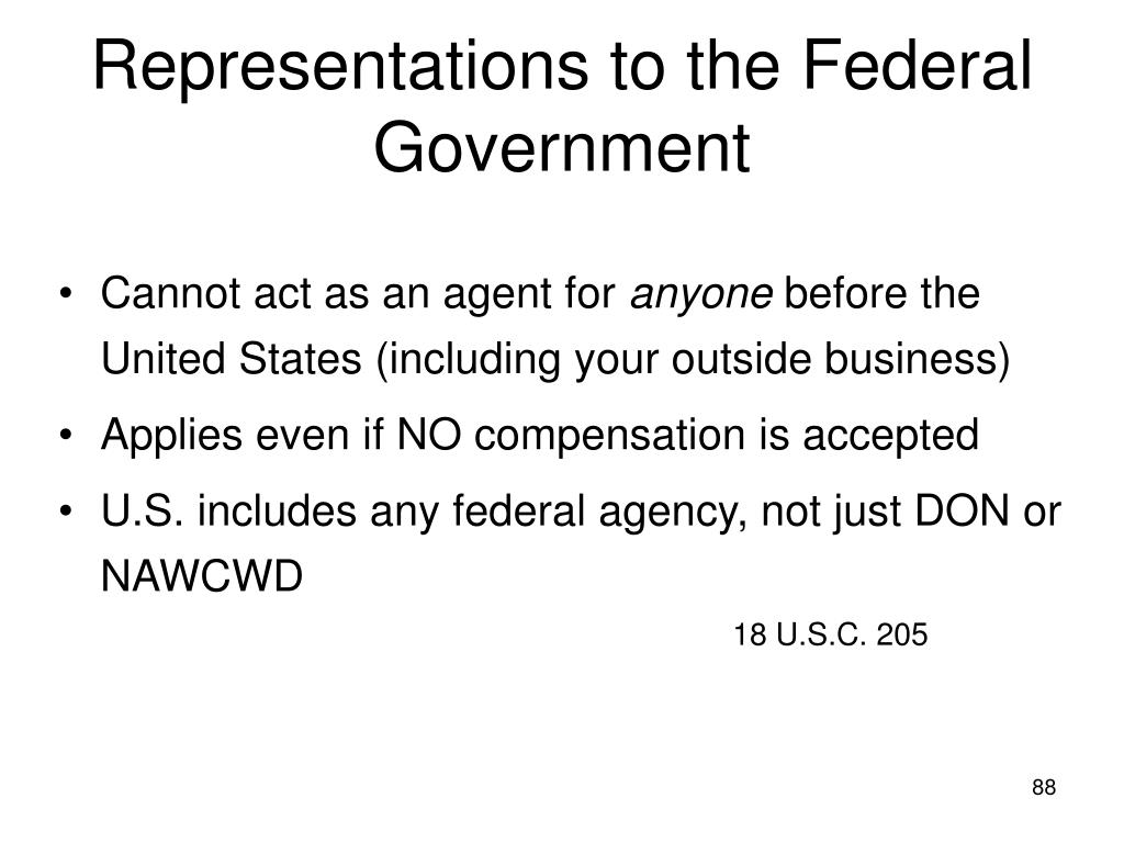 Representations to the Federal Government