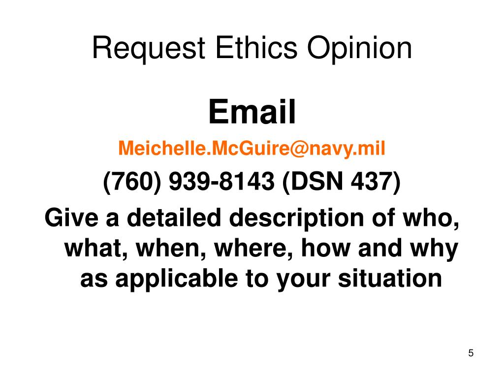 Request Ethics Opinion