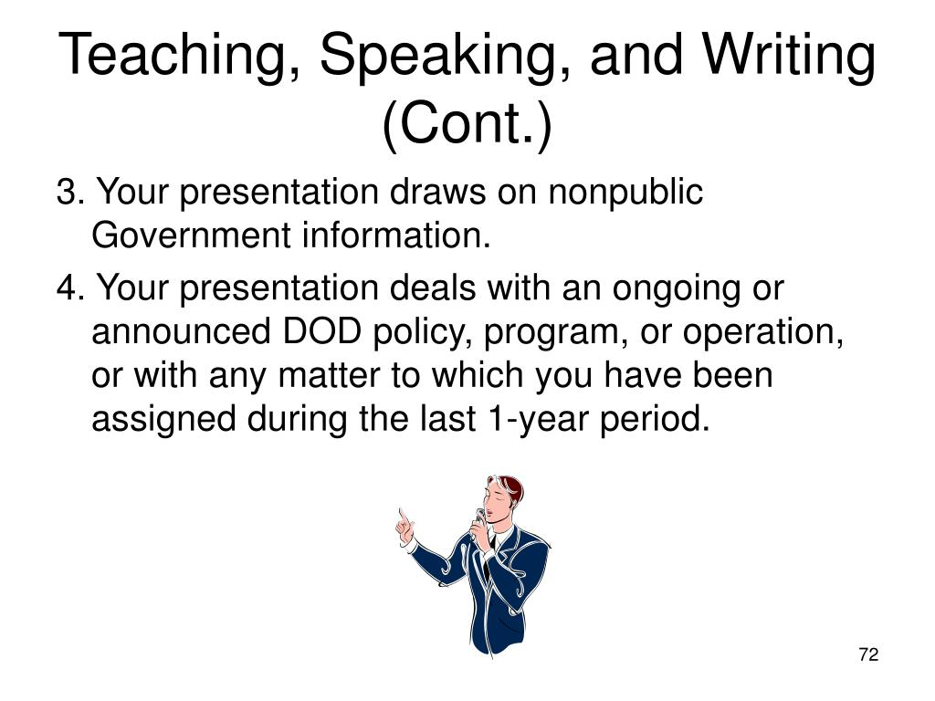 Teaching, Speaking, and Writing (Cont.)