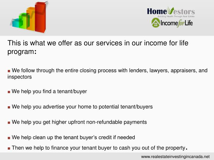This is what we offer as our services in our income for life program