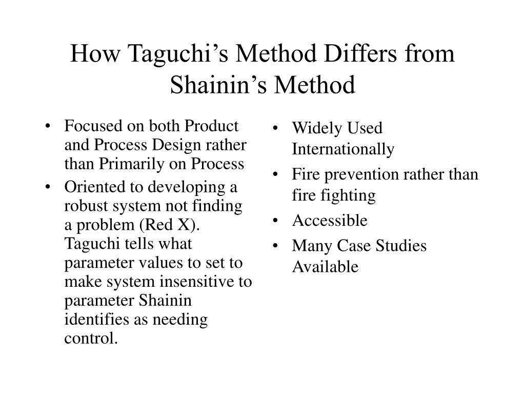 taguchi problems Robust design and taguchi methods 1 robust design ala taguchi g taguchi, a japanese engineer the problem: high drop-out rate caused by deviation in.