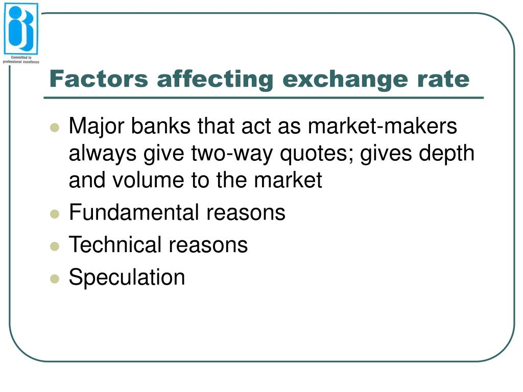 Factors affecting exchange rate