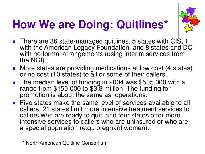 How We are Doing: Quitlines*