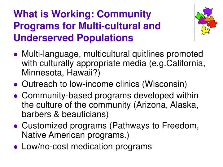What is Working: Community Programs for Multi-cultural and Underserved Populations