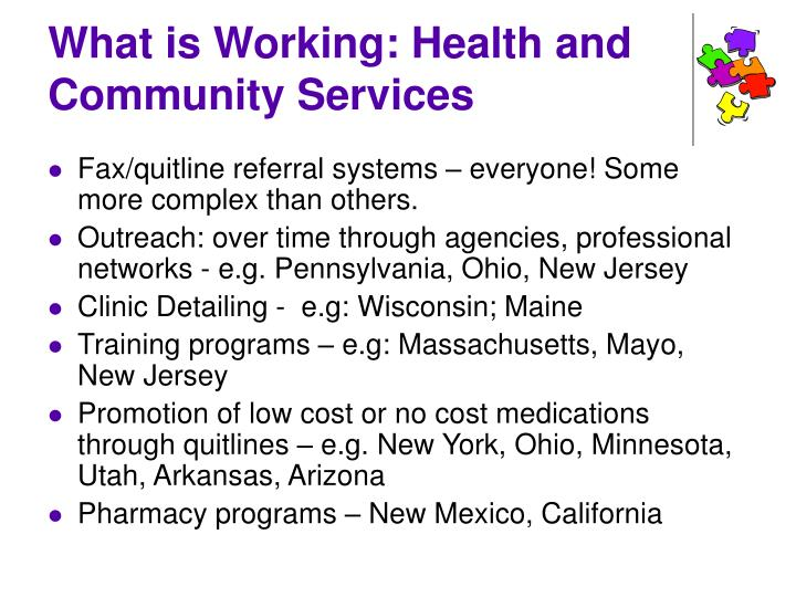 What is Working: Health and Community Services