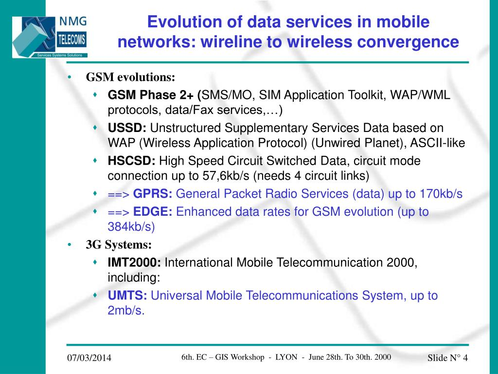 Evolution of data services in mobile  networks: wireline to wireless convergence