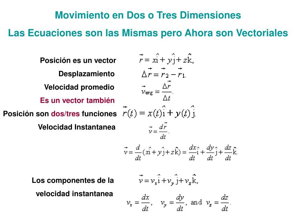 Movimiento en Dos o Tres Dimensiones