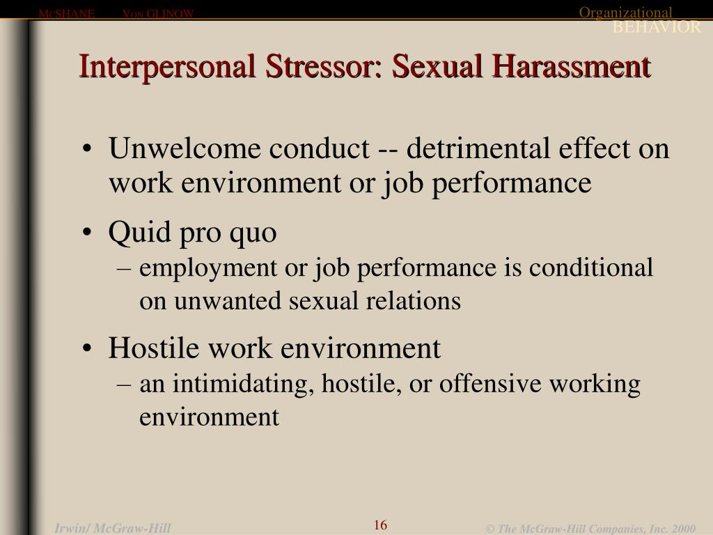 Interpersonal Stressor: Sexual Harassment