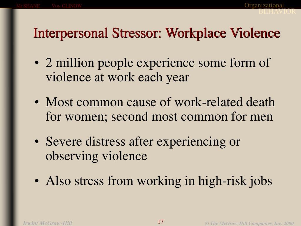 Interpersonal Stressor: Workplace Violence