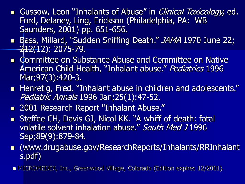"Gussow, Leon ""Inhalants of Abuse"" in"