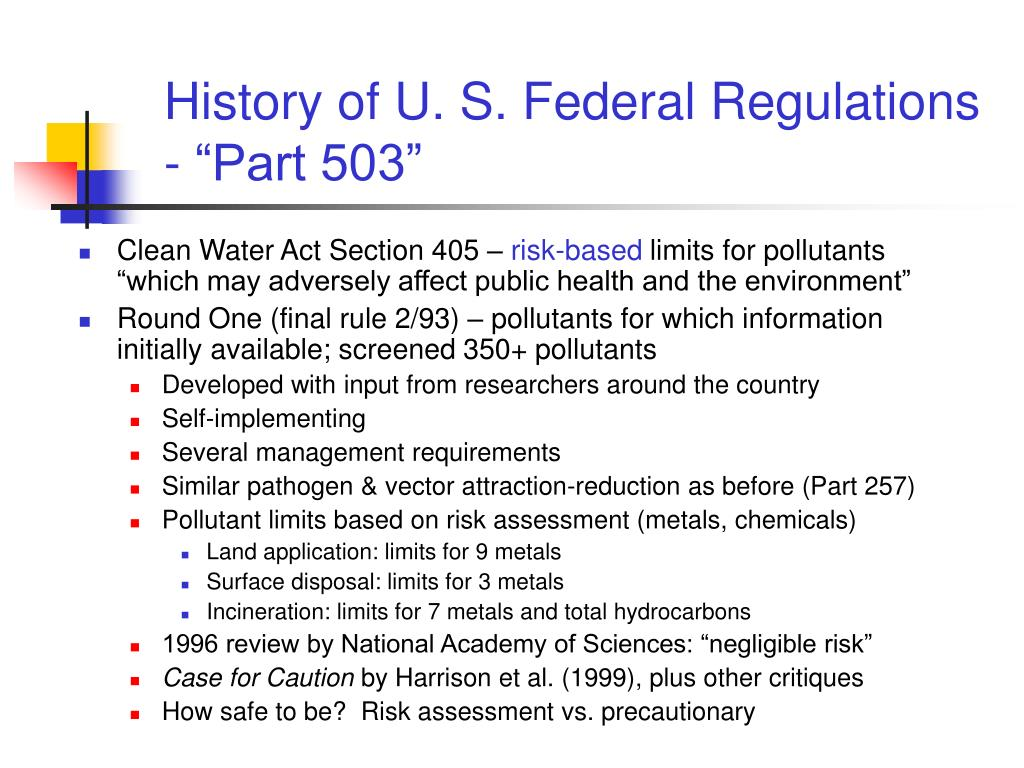 "History of U. S. Federal Regulations - ""Part 503"""