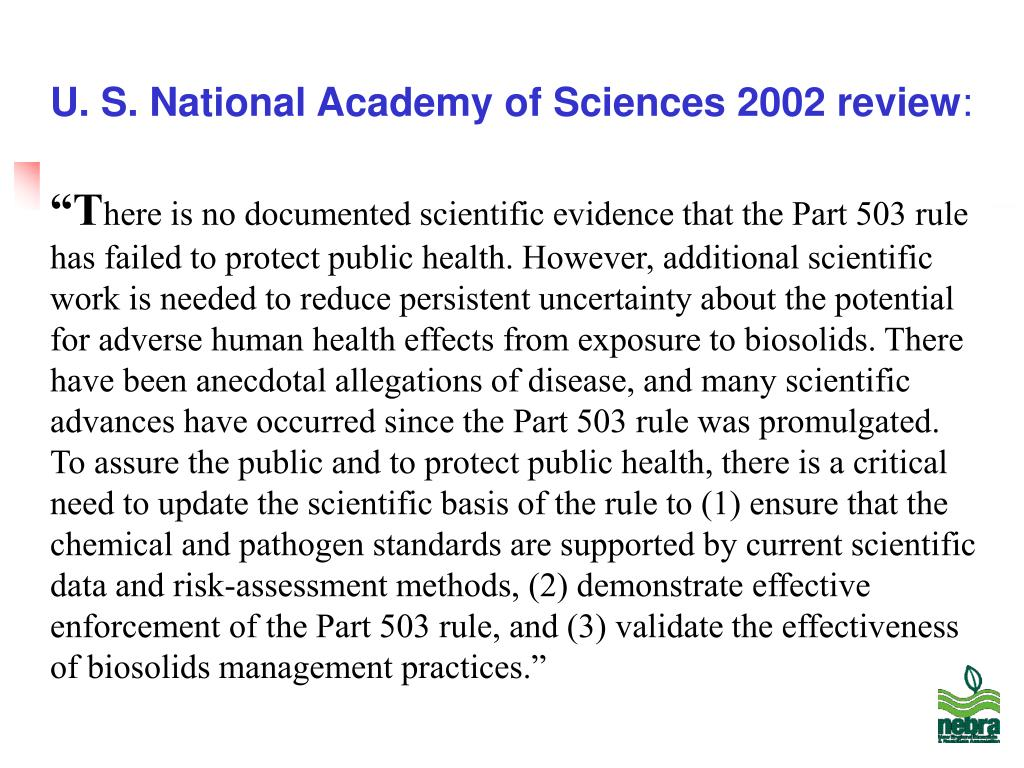 U. S. National Academy of Sciences 2002 review