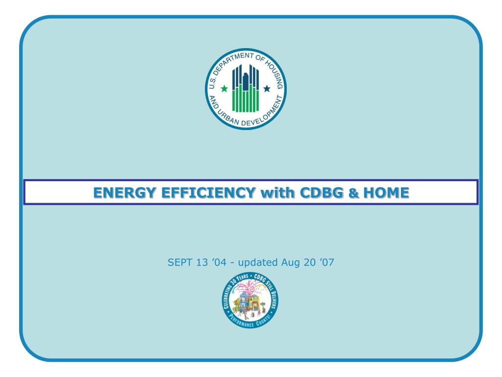 ENERGY EFFICIENCY with CDBG