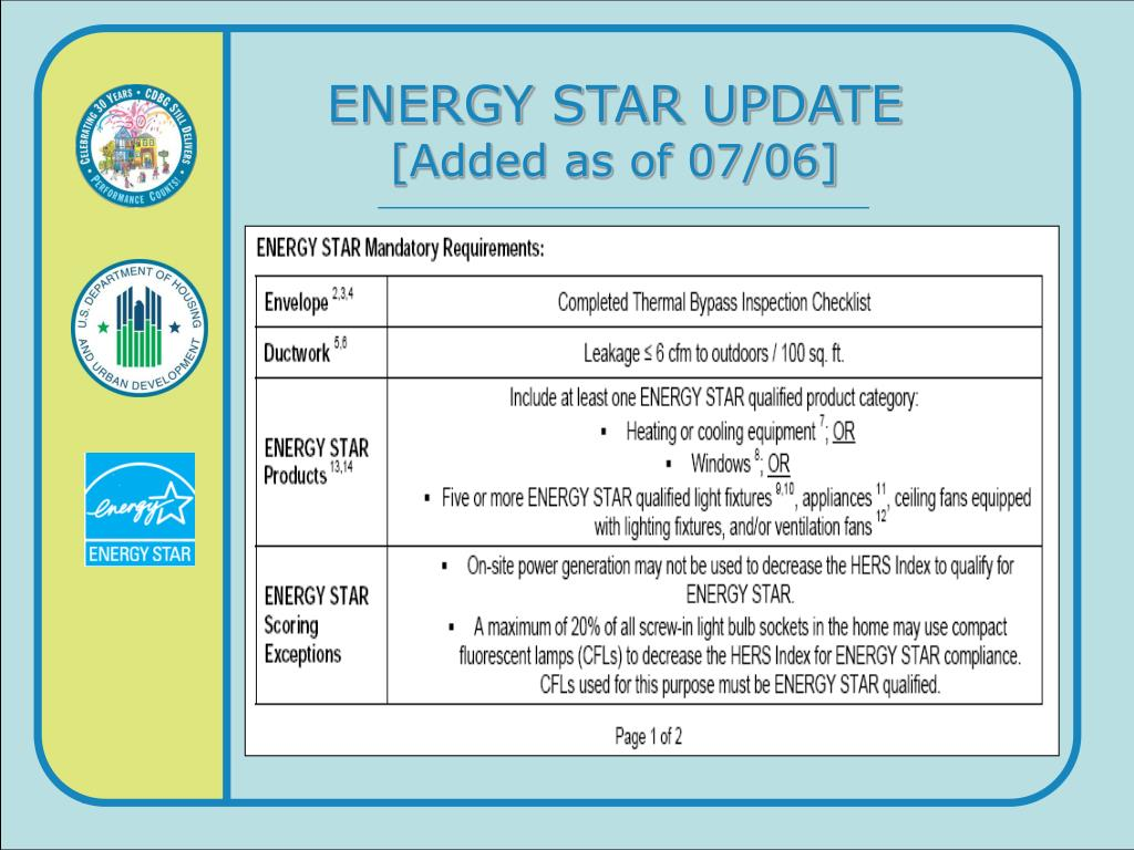 ENERGY STAR UPDATE