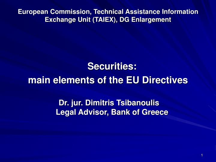 European commission technical assistance information exchange unit taiex dg enlargement