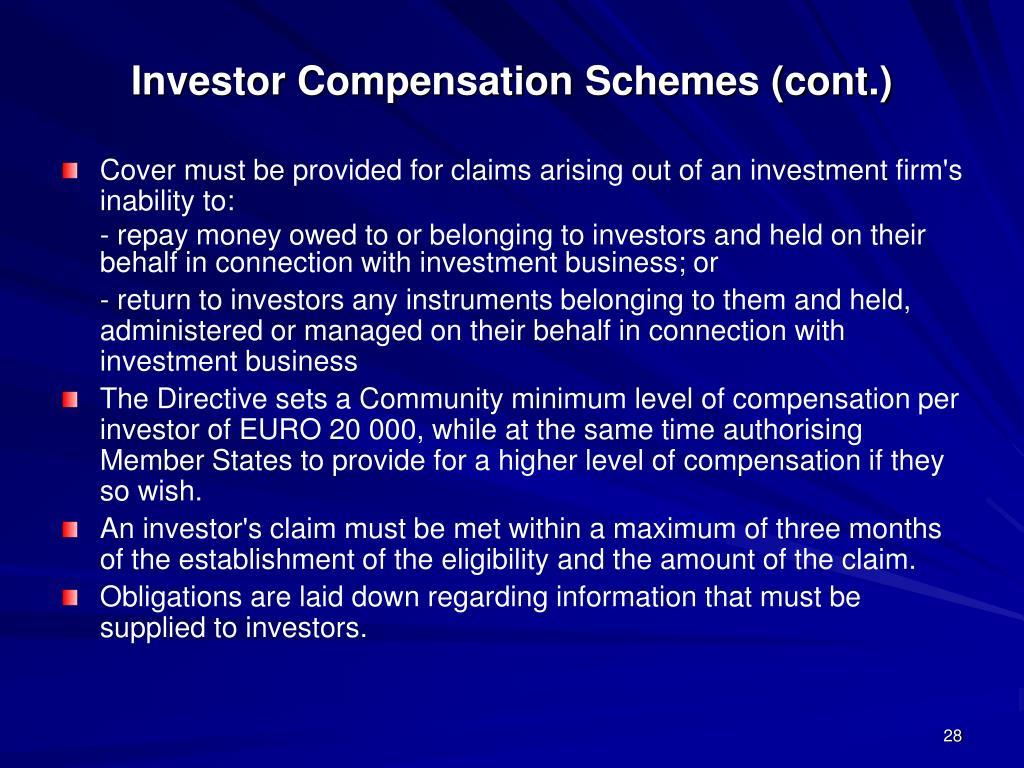Investor Compensation Schemes (cont.)
