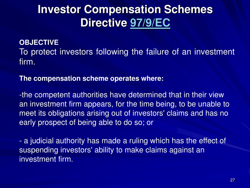 Investor Compensation Schemes