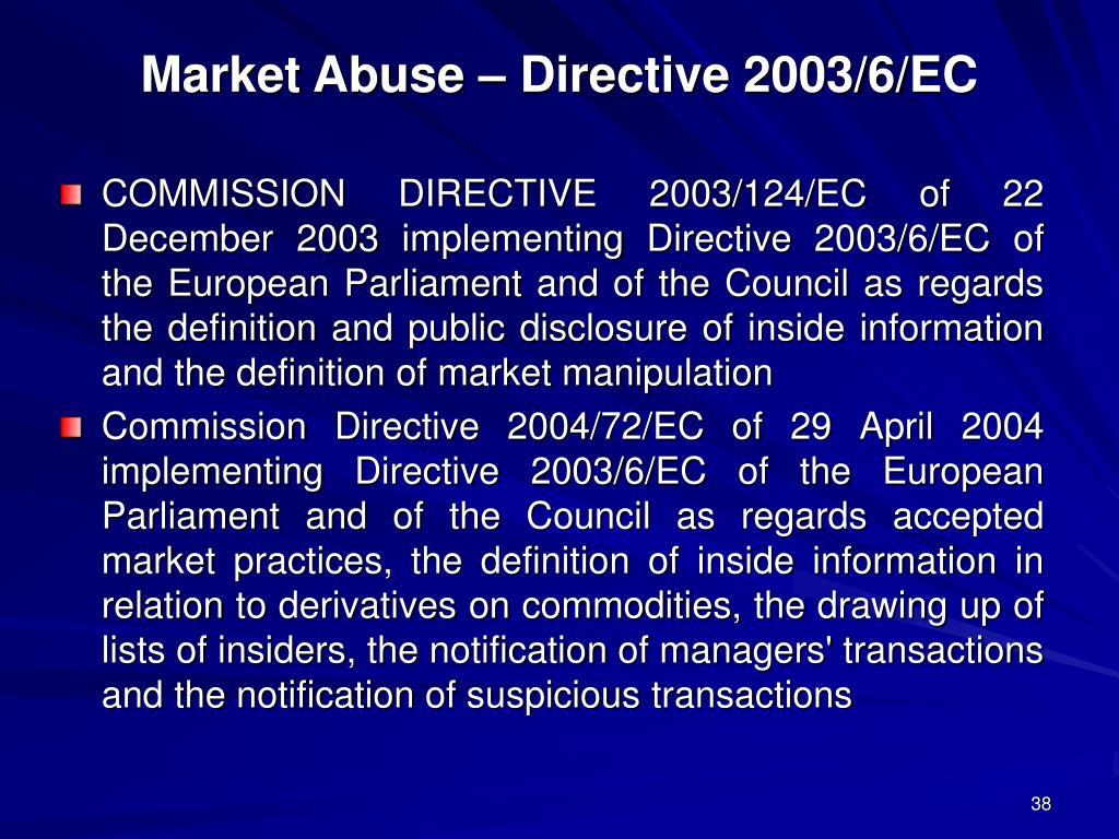 Market Abuse – Directive 2003/6/EC