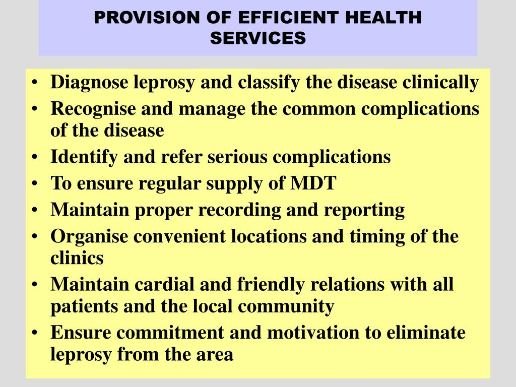 PROVISION OF EFFICIENT HEALTH SERVICES
