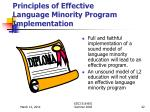 principles of effective language minority program implementation