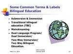 some common terms labels bilingual education