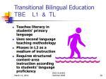 transitional bilingual education tbe l1 tl