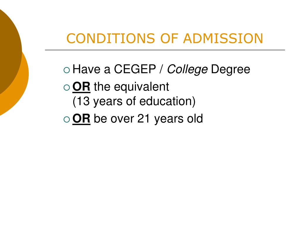 CONDITIONS OF ADMISSION