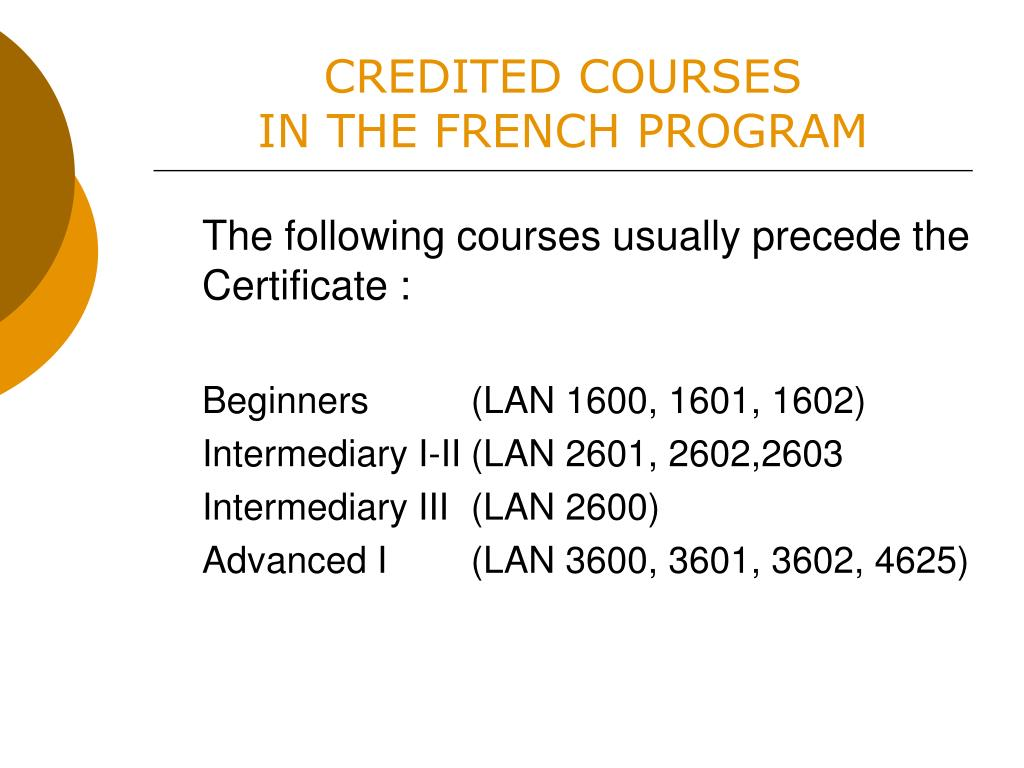 CREDITED COURSES