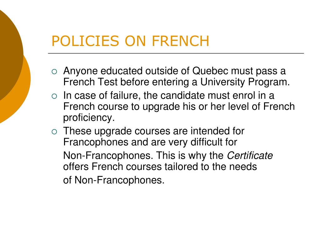POLICIES ON FRENCH