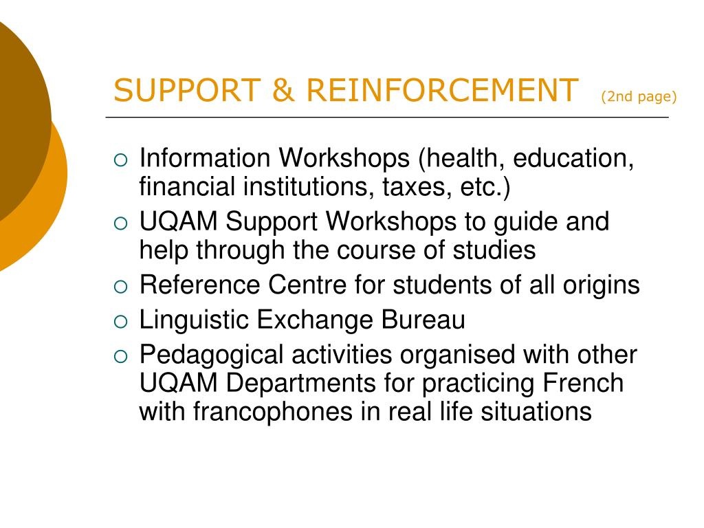 SUPPORT & REINFORCEMENT