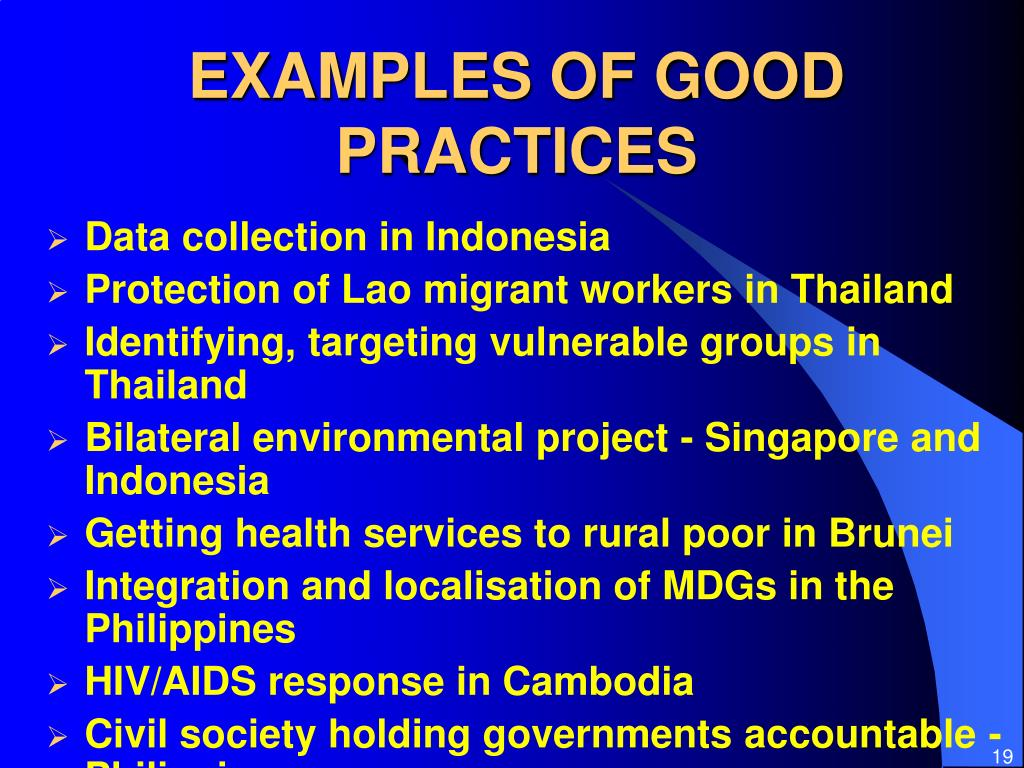 EXAMPLES OF GOOD PRACTICES