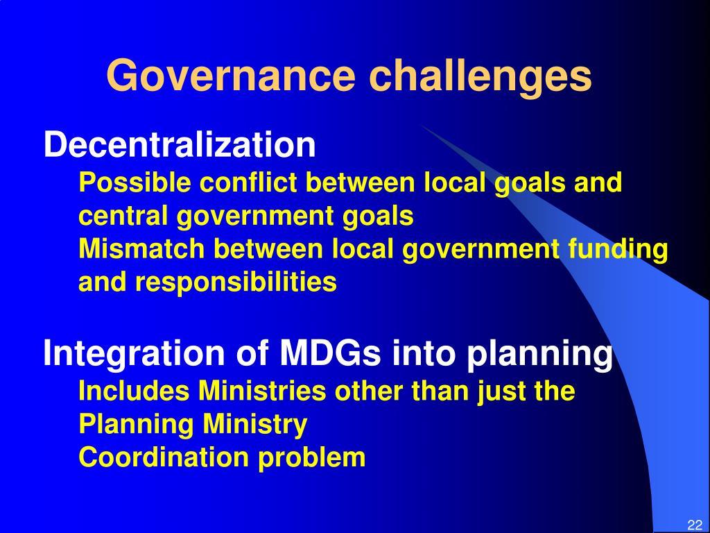 Governance challenges