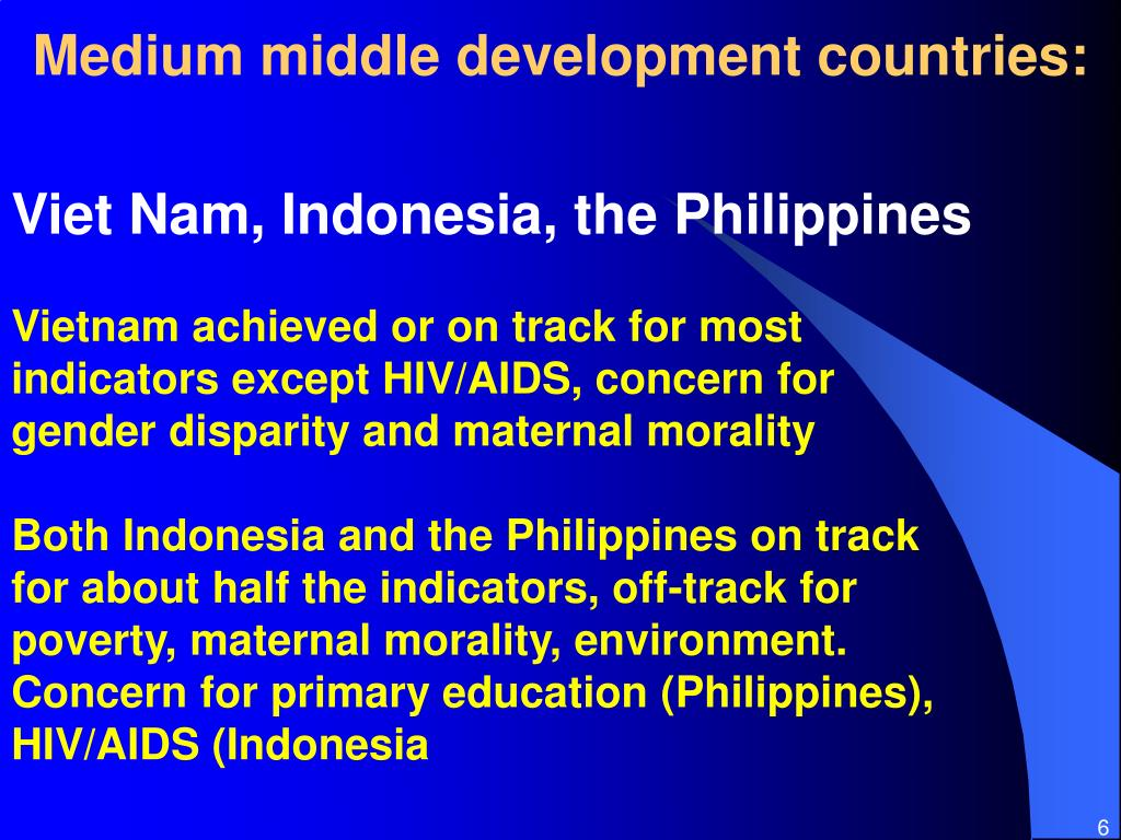 Medium middle development countries: