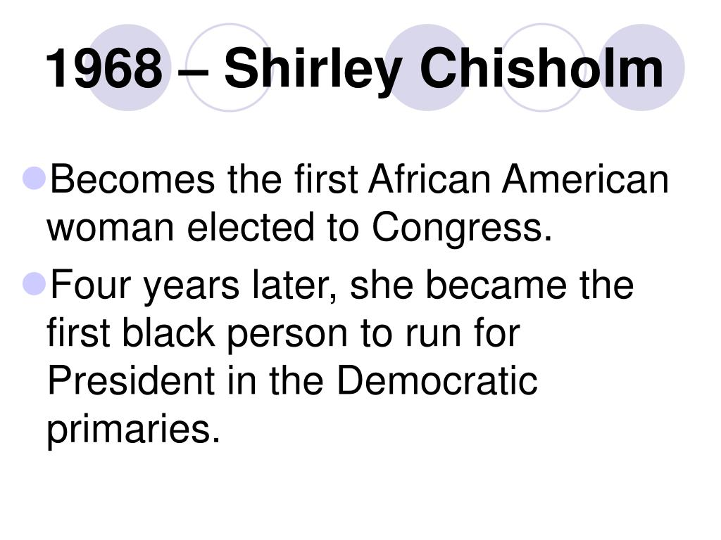 1968 – Shirley Chisholm