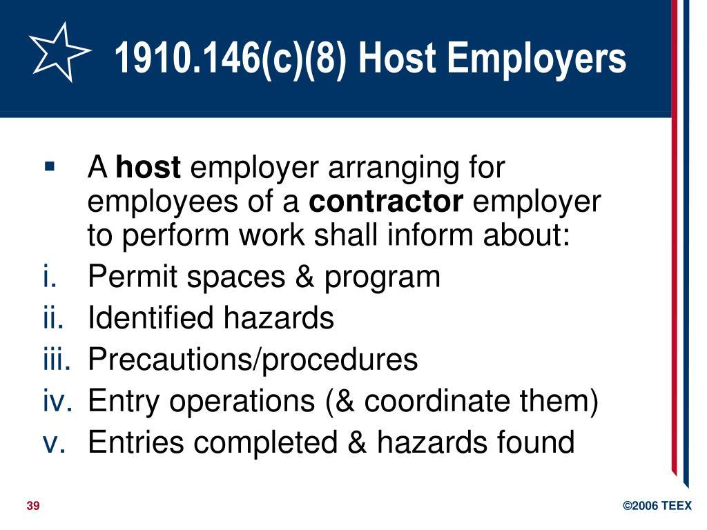 1910.146(c)(8) Host Employers
