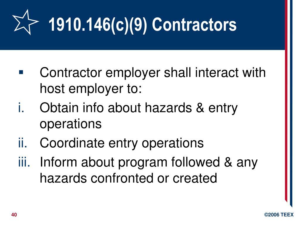 1910.146(c)(9) Contractors