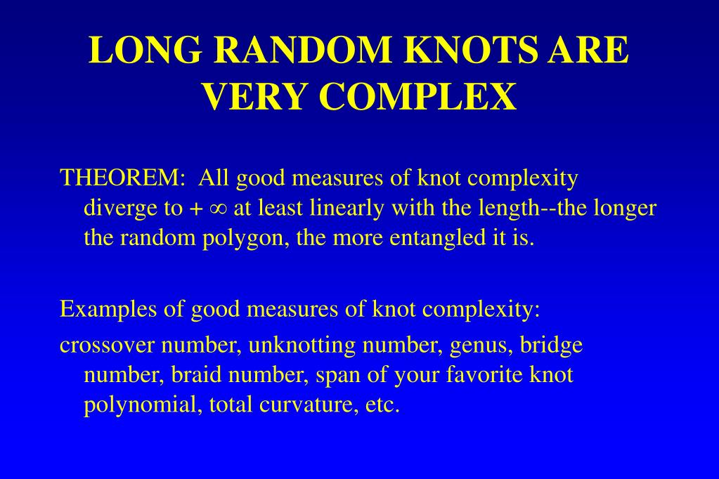 LONG RANDOM KNOTS ARE VERY COMPLEX