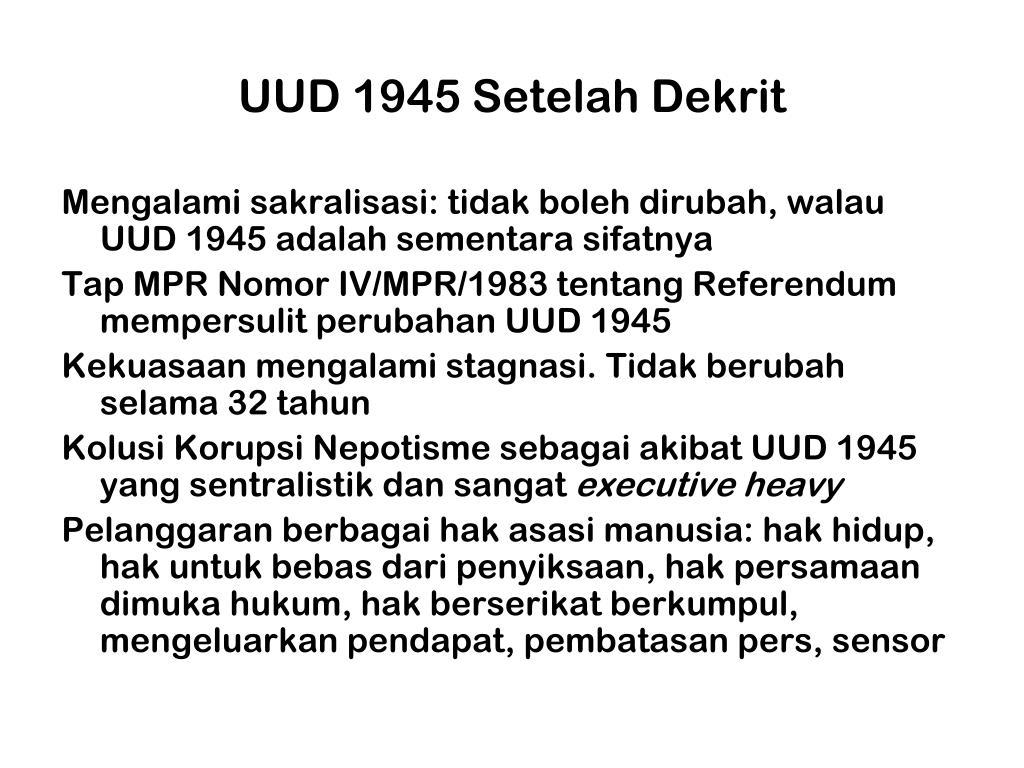 UUD 1945 Setelah Dekrit