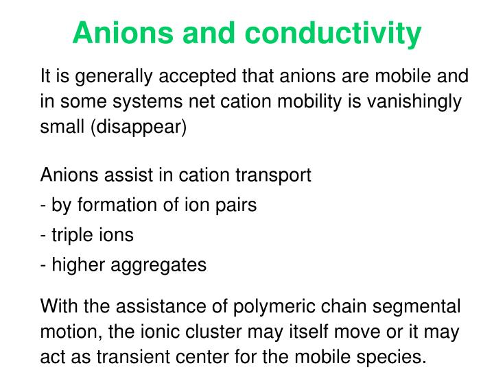 Anions and conductivity