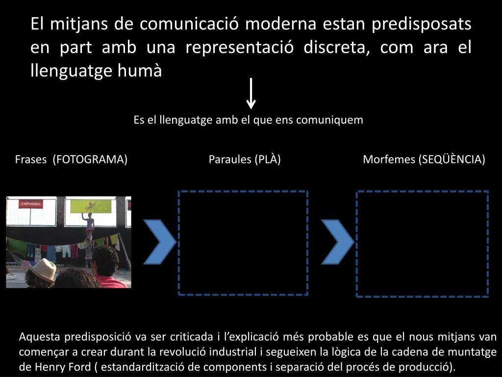 El mitjans de comunicació moderna estan predisposats en part amb una representació discreta, com ara el llenguatge humà