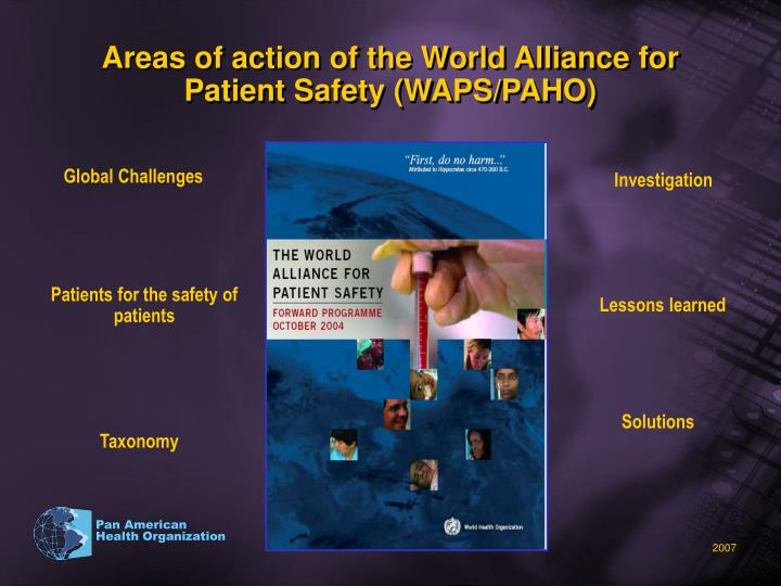 Areas of action of the World Alliance for Patient Safety (WAPS/PAHO)