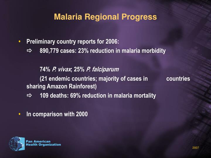 Malaria Regional Progress